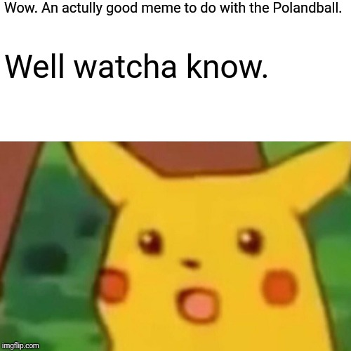 Surprised Pikachu Meme | Wow. An actully good meme to do with the Polandball. Well watcha know. | image tagged in memes,surprised pikachu | made w/ Imgflip meme maker