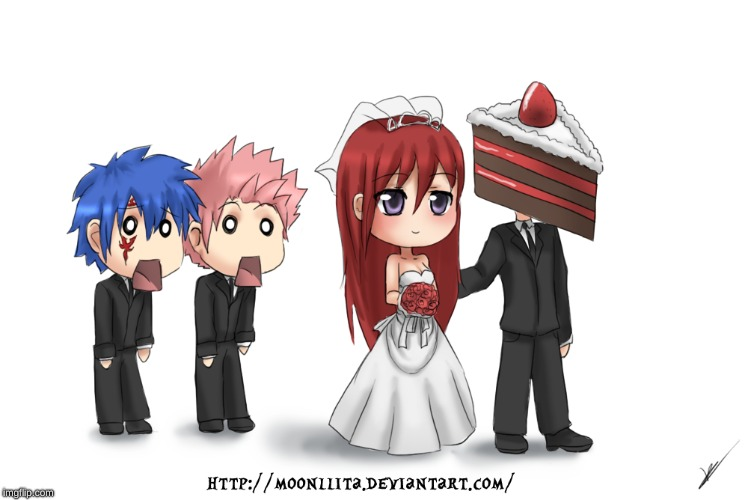 Best Love Story Ever | image tagged in memes,anime,fairy tail,erza's cake,erza scarlett,wedding | made w/ Imgflip meme maker