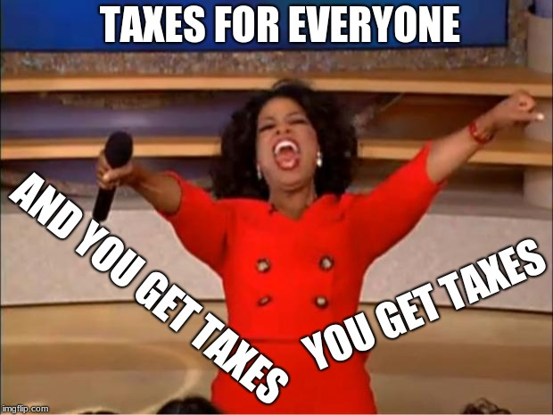 Oprah You Get A | TAXES FOR EVERYONE YOU GET TAXES AND YOU GET TAXES | image tagged in memes,oprah you get a | made w/ Imgflip meme maker