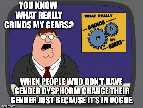 Peter Griffin News Meme | YOU KNOW WHAT REALLY GRINDS MY GEARS? WHEN PEOPLE WHO DON'T HAVE GENDER DYSPHORIA CHANGE THEIR GENDER JUST BECAUSE IT'S IN VOGUE. | image tagged in memes,peter griffin news | made w/ Imgflip meme maker