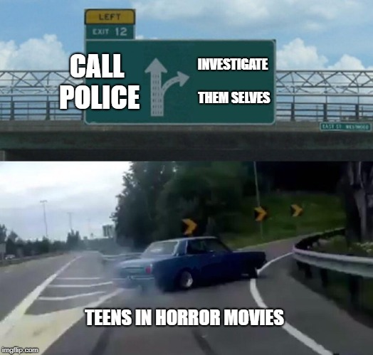 i mean they are so stupid in horror | CALL POLICE INVESTIGATE THEM SELVES TEENS IN HORROR MOVIES | image tagged in memes,left exit 12 off ramp | made w/ Imgflip meme maker