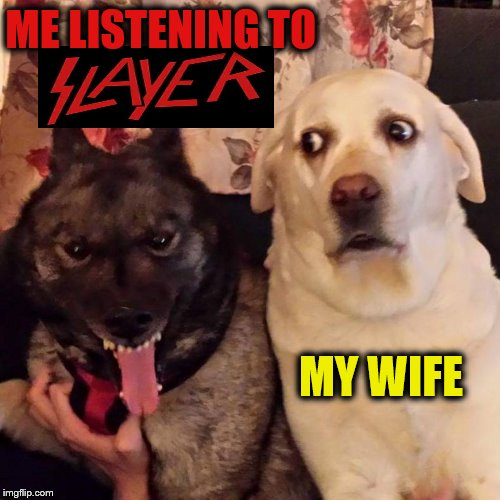 ME LISTENING TO MY WIFE | image tagged in heavy metal,slayer,evil dog | made w/ Imgflip meme maker
