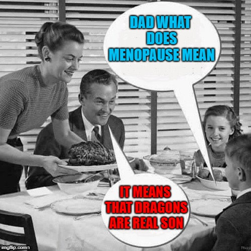 For my bro's out there...feel sorry for you when your wives reach it!!!  |  DAD WHAT DOES MENOPAUSE MEAN; IT MEANS THAT DRAGONS ARE REAL SON | image tagged in vintage family dinner,memes,family,funny,menopause,dragons | made w/ Imgflip meme maker