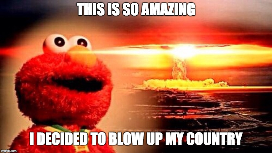 elmo nuclear explosion | THIS IS SO AMAZING I DECIDED TO BLOW UP MY COUNTRY | image tagged in elmo nuclear explosion | made w/ Imgflip meme maker