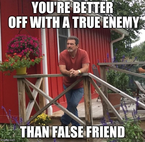 Pondering | YOU'RE BETTER OFF WITH A TRUE ENEMY THAN FALSE FRIEND | image tagged in pondering | made w/ Imgflip meme maker