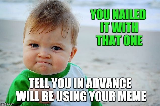 Success Kid / Nailed It Kid | YOU NAILED IT WITH THAT ONE TELL YOU IN ADVANCE WILL BE USING YOUR MEME | image tagged in success kid / nailed it kid | made w/ Imgflip meme maker