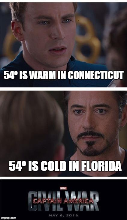 Debate of the Millenium | 54º IS WARM IN CONNECTICUT 54º IS COLD IN FLORIDA | image tagged in marvel civil war 1,florida,weather,debate,argument | made w/ Imgflip meme maker