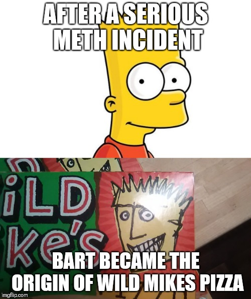 Meth is one hell of a drug |  AFTER A SERIOUS METH INCIDENT; BART BECAME THE ORIGIN OF WILD MIKES PIZZA | image tagged in bart | made w/ Imgflip meme maker