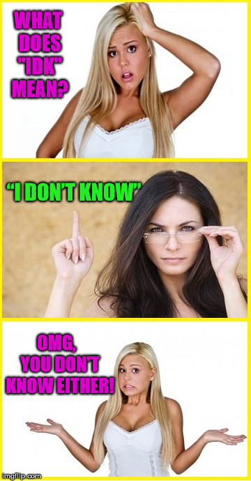 "Blonde Don't Know |  WHAT DOES ""IDK"" MEAN? ""I DON'T KNOW""; OMG,  YOU DON'T KNOW EITHER! 