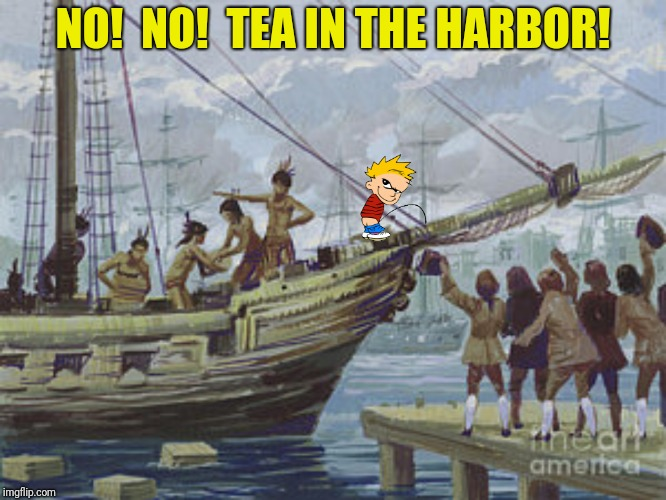 NO!  NO!  TEA IN THE HARBOR! | made w/ Imgflip meme maker