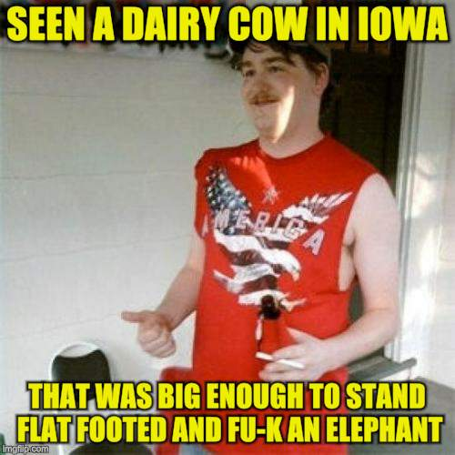 Redneck Randal Meme | SEEN A DAIRY COW IN IOWA THAT WAS BIG ENOUGH TO STAND FLAT FOOTED AND FU-K AN ELEPHANT | image tagged in memes,redneck randal | made w/ Imgflip meme maker