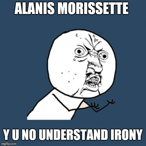 Y U No Meme | ALANIS MORISSETTE Y U NO UNDERSTAND IRONY | image tagged in memes,y u no | made w/ Imgflip meme maker