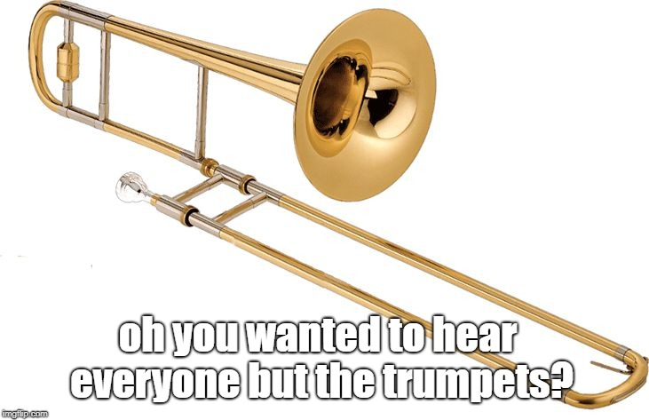 Trombone | oh you wanted to hear everyone but the trumpets? | image tagged in trombone | made w/ Imgflip meme maker