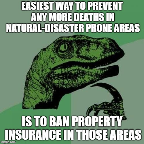Philosoraptor Meme | EASIEST WAY TO PREVENT ANY MORE DEATHS IN NATURAL-DISASTER PRONE AREAS IS TO BAN PROPERTY INSURANCE IN THOSE AREAS | image tagged in memes,philosoraptor | made w/ Imgflip meme maker