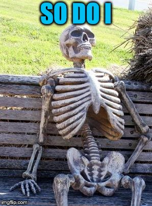 Waiting Skeleton Meme | SO DO I | image tagged in memes,waiting skeleton | made w/ Imgflip meme maker