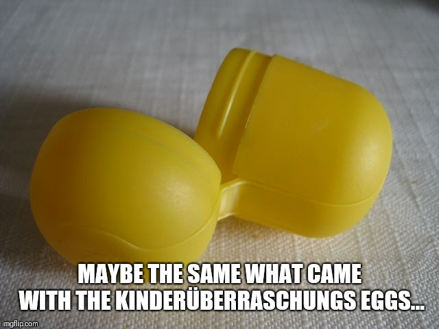 MAYBE THE SAME WHAT CAME WITH THE KINDERÜBERRASCHUNGS EGGS... | made w/ Imgflip meme maker