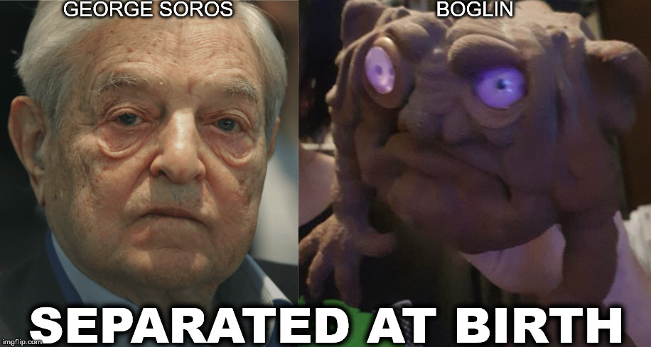 GEORGE SOROS totally looks like this BOGLIN |  GEORGE SOROS; BOGLIN; SEPARATED AT BIRTH | image tagged in george soros,boglin,boglins,totally looks like,separated at birth,meme | made w/ Imgflip meme maker