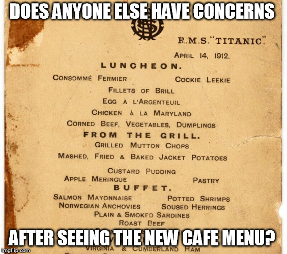 DOES ANYONE ELSE HAVE CONCERNS AFTER SEEING THE NEW CAFE MENU? | image tagged in ship | made w/ Imgflip meme maker