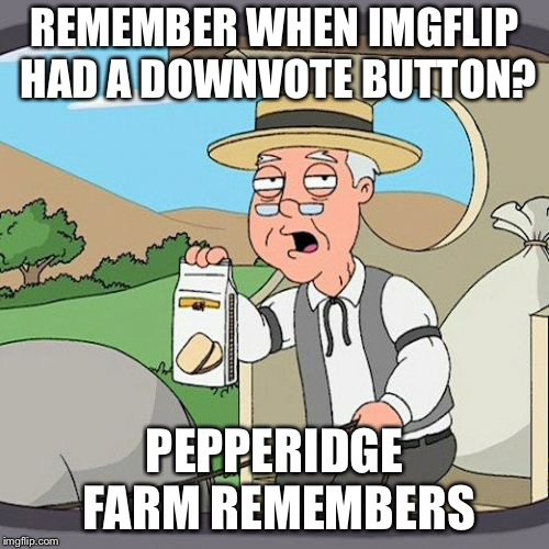 Pepperidge Farm Remembers | REMEMBER WHEN IMGFLIP HAD A DOWNVOTE BUTTON? PEPPERIDGE FARM REMEMBERS | image tagged in memes,pepperidge farm remembers | made w/ Imgflip meme maker