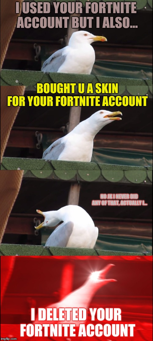 Inhaling Seagull |  I USED YOUR FORTNITE ACCOUNT BUT I ALSO... BOUGHT U A SKIN FOR YOUR FORTNITE ACCOUNT; NO JK I NEVER DID ANY OF THAT, ACTUALLY I... I DELETED YOUR FORTNITE ACCOUNT | image tagged in memes,inhaling seagull | made w/ Imgflip meme maker
