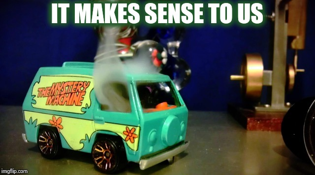 Hot wheels mystery machine | IT MAKES SENSE TO US | image tagged in hot wheels mystery machine | made w/ Imgflip meme maker