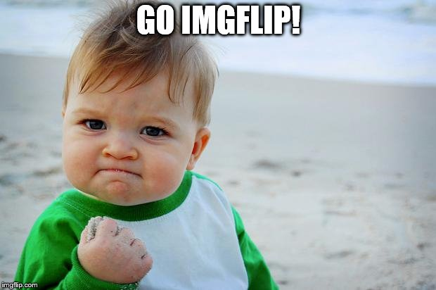 sucess kid | GO IMGFLIP! | image tagged in sucess kid | made w/ Imgflip meme maker