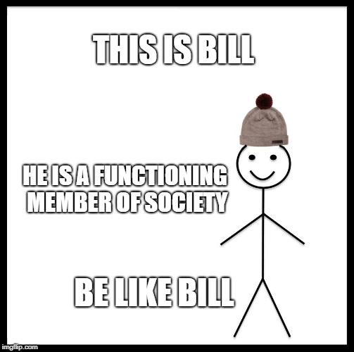 Be Like Bill Meme | THIS IS BILL HE IS A FUNCTIONING MEMBER OF SOCIETY BE LIKE BILL | image tagged in memes,be like bill | made w/ Imgflip meme maker