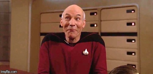 picard laugh | . | image tagged in picard laugh | made w/ Imgflip meme maker
