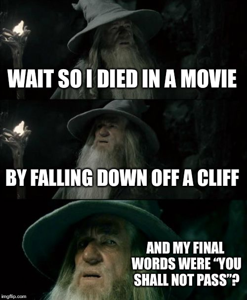 "Confused Gandalf Meme | WAIT SO I DIED IN A MOVIE BY FALLING DOWN OFF A CLIFF AND MY FINAL WORDS WERE ""YOU SHALL NOT PASS""? 
