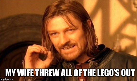 One Does Not Simply Meme | MY WIFE THREW ALL OF THE LEGO'S OUT | image tagged in memes,one does not simply | made w/ Imgflip meme maker