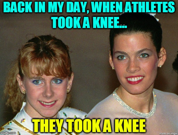Oh Say Can't You See Athletes Taking Knees | BACK IN MY DAY, WHEN ATHLETES TOOK A KNEE... THEY TOOK A KNEE | image tagged in vince vance,tanya harding,nancy kerrigan,ice skating,figure skating championship,1994 | made w/ Imgflip meme maker