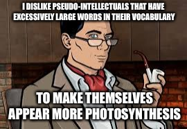 pseudo-intellectuals | I DISLIKE PSEUDO-INTELLECTUALS THAT HAVE EXCESSIVELY LARGE WORDS IN THEIR VOCABULARY TO MAKE THEMSELVES APPEAR MORE PHOTOSYNTHESIS | image tagged in classy archer,pseudo-intellectuals | made w/ Imgflip meme maker