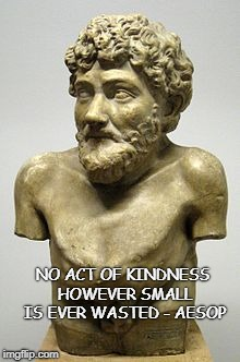 Be Kind | NO ACT OF KINDNESS HOWEVER SMALL IS EVER WASTED - AESOP | image tagged in kindness campaign,be kind,kindness,aesop | made w/ Imgflip meme maker