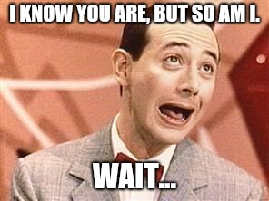 PeeWee | I KNOW YOU ARE, BUT SO AM I. WAIT... | image tagged in peewee | made w/ Imgflip meme maker