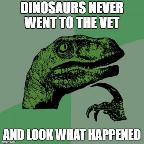 Philosoraptor Meme | DINOSAURS NEVER WENT TO THE VET AND LOOK WHAT HAPPENED | image tagged in memes,philosoraptor | made w/ Imgflip meme maker