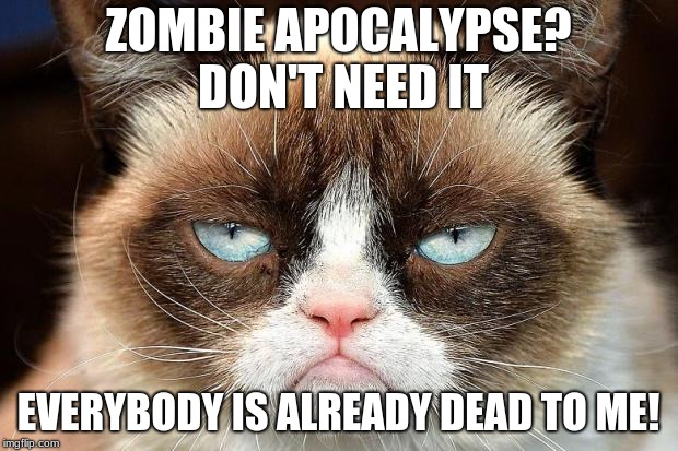 Grumpy Cat Not Amused | ZOMBIE APOCALYPSE? DON'T NEED IT EVERYBODY IS ALREADY DEAD TO ME! | image tagged in memes,grumpy cat not amused,grumpy cat | made w/ Imgflip meme maker