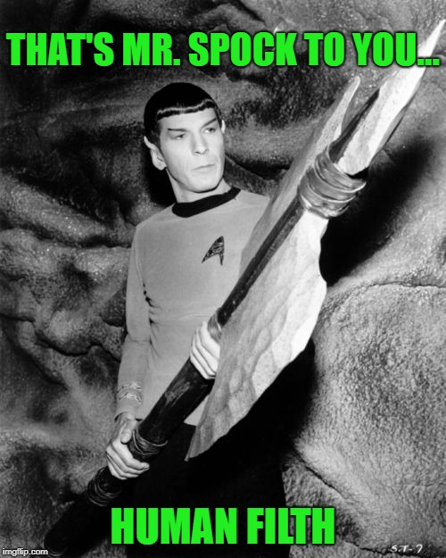 Spock doesn't play | THAT'S MR. SPOCK TO YOU... HUMAN FILTH | image tagged in spock,mr spock,star trek,gwar | made w/ Imgflip meme maker