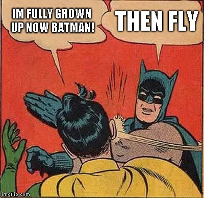 Batman Slapping Robin | IM FULLY GROWN UP NOW BATMAN! THEN FLY | image tagged in memes,batman slapping robin | made w/ Imgflip meme maker