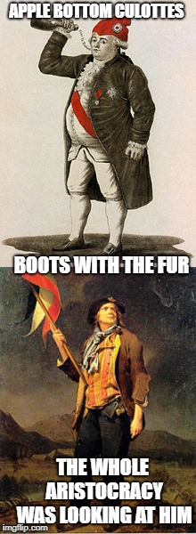 APPLE BOTTOM CULOTTES BOOTS WITH THE FUR THE WHOLE ARISTOCRACY WAS LOOKING AT HIM | image tagged in french revolution,history,memes,funny | made w/ Imgflip meme maker