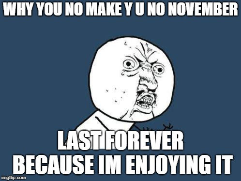 Why you no | WHY YOU NO MAKE Y U NO NOVEMBER LAST FOREVER BECAUSE IM ENJOYING IT | image tagged in why you no | made w/ Imgflip meme maker