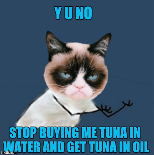 Y U NOvember  | Y U NO STOP BUYING ME TUNA IN WATER AND GET TUNA IN OIL | image tagged in memes,funny,grumpy cat,cats,y u november,44colt | made w/ Imgflip meme maker