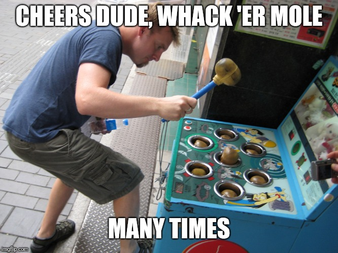whack a mole | CHEERS DUDE, WHACK 'ER MOLE MANY TIMES | image tagged in whack a mole | made w/ Imgflip meme maker