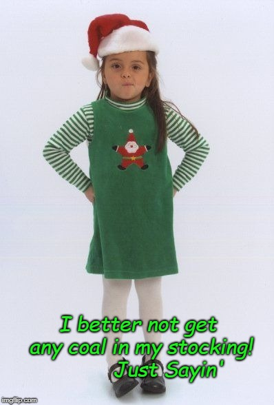 I better not get any coal in my stocking!          Just Sayin' | image tagged in sassy elf | made w/ Imgflip meme maker