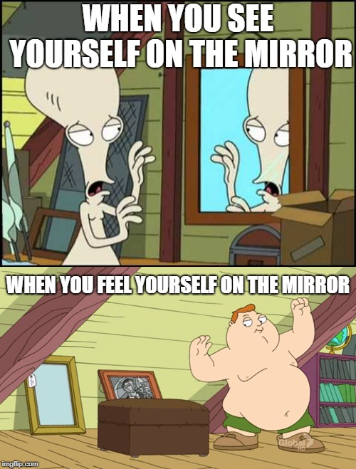 WHEN YOU SEE YOURSELF ON THE MIRROR WHEN YOU FEEL YOURSELF ON THE MIRROR | image tagged in when see yourself on the mirror | made w/ Imgflip meme maker