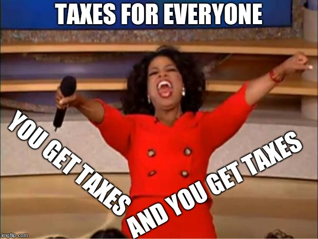 Oprah You Get A Meme | TAXES FOR EVERYONE YOU GET TAXES AND YOU GET TAXES | image tagged in memes,oprah you get a | made w/ Imgflip meme maker