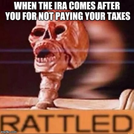 RATTLED | WHEN THE IRA COMES AFTER YOU FOR NOT PAYING YOUR TAXES | image tagged in rattled | made w/ Imgflip meme maker