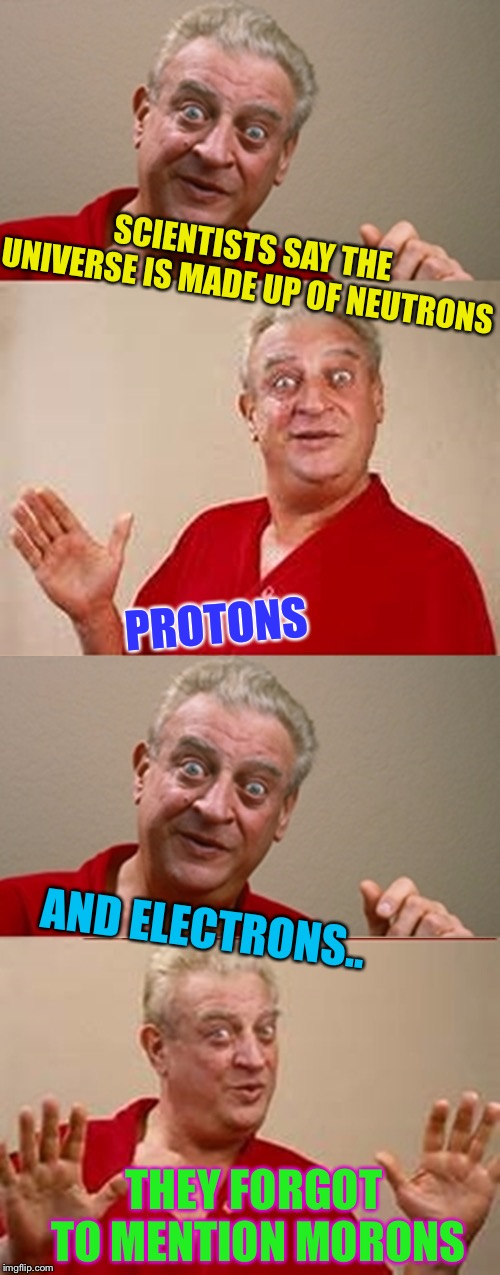 Are all the Ronald's here ? | SCIENTISTS SAY THE UNIVERSE IS MADE UP OF NEUTRONS AND ELECTRONS.. PROTONS THEY FORGOT TO MENTION MORONS | image tagged in bad pun rodney dangerfield,morons,morons everywhere | made w/ Imgflip meme maker