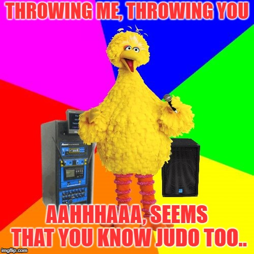 Hiyaaa! | THROWING ME, THROWING YOU AAHHHAAA, SEEMS THAT YOU KNOW JUDO TOO.. | image tagged in wrong lyrics karaoke big bird | made w/ Imgflip meme maker