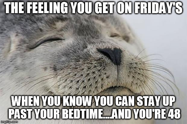 That feeling you get.. | THE FEELING YOU GET ON FRIDAY'S WHEN YOU KNOW YOU CAN STAY UP PAST YOUR BEDTIME....AND YOU'RE 48 | image tagged in awesome feeling seal,friday night,bedtime,old,stay up,friday's | made w/ Imgflip meme maker