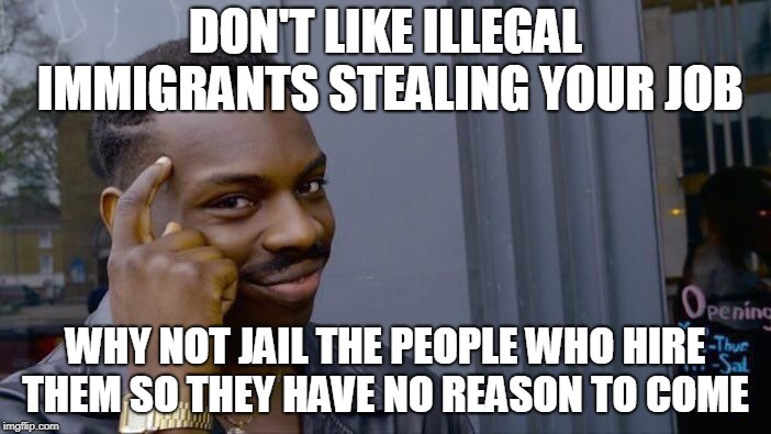 Roll Safe Think About It | DON'T LIKE ILLEGAL IMMIGRANTS STEALING YOUR JOB WHY NOT JAIL THE PEOPLE WHO HIRE THEM SO THEY HAVE NO REASON TO COME | image tagged in memes,roll safe think about it | made w/ Imgflip meme maker